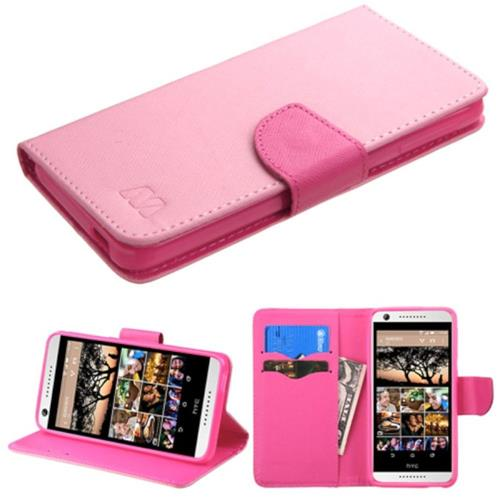Insten Flip Leather Fabric Case w/stand/card slot For HTC Desire 626/626s, Pink