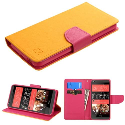 Insten Book-Style Leather Fabric Case w/stand/card holder For HTC Desire 626/626s, Yellow/Hot Pink