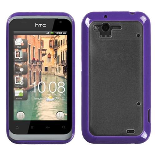 Insten Gummy Hard Matte TPU Case For HTC Rhyme / Bliss, Clear/Purple