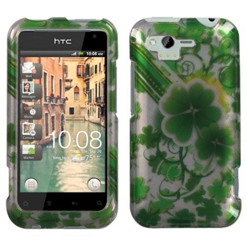 Insten Lucky Clovers Hard Case For HTC Rhyme / Bliss, Green