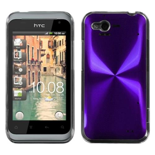 Insten Cosmo Aluminum Metallic Hard Cover Case For HTC Rhyme / Bliss, Purple/Clear