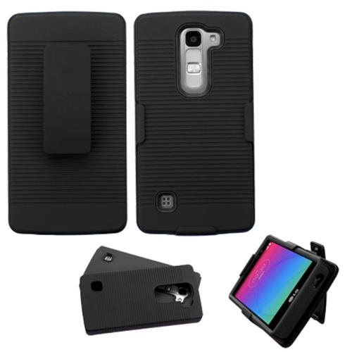 Insten Hard Dual Layer Rubber Coated Silicone Cover Case For LG Escape 2/Logos, Black