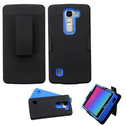 Insten Hard Hybrid Rubberized Silicone Cover Case For LG Escape 2/Logos, Black/Blue