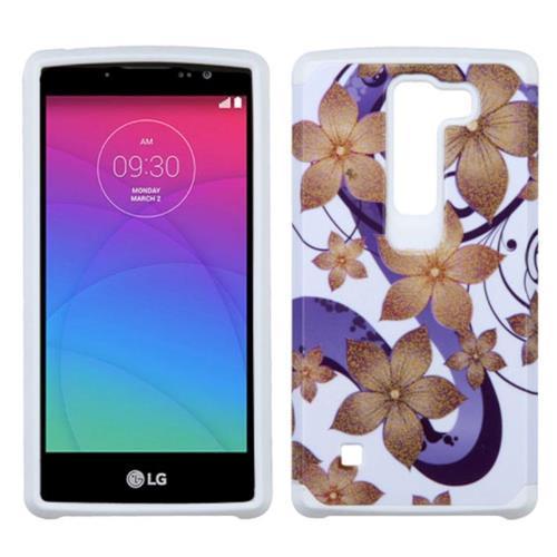 Insten Hibiscus Flower Romance Hard Hybrid Rubber Silicone Cover Case For LG Spirit 4G, Purple/White