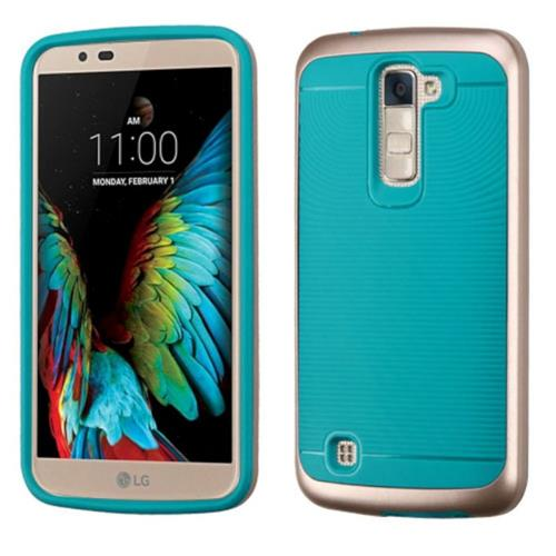 Insten Hard Dual Layer TPU Case For LG K10, Teal/Rose Gold