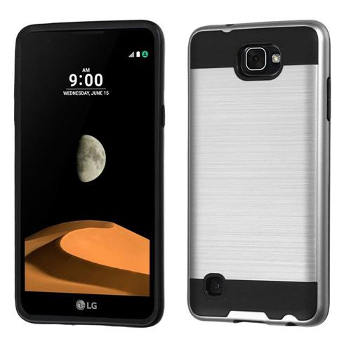 Insten Hard Hybrid TPU Cover Case For LG X max, Silver/Black
