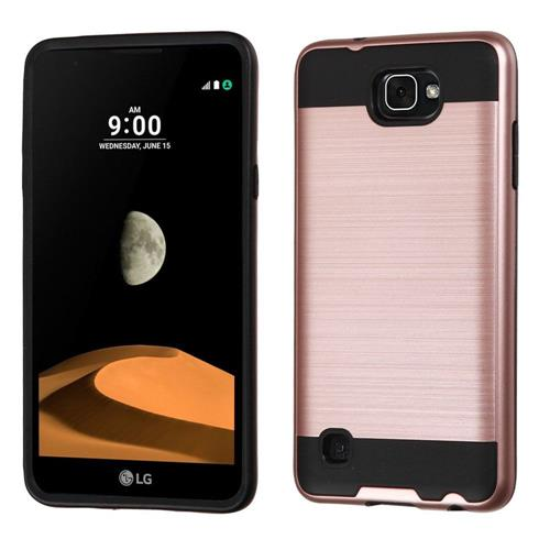 Insten Hard Dual Layer TPU Cover Case For LG X max, Rose Gold/Black