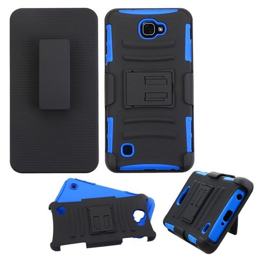 Insten Hard Hybrid Plastic Silicone Case w/Holster For LG X max, Black/Blue