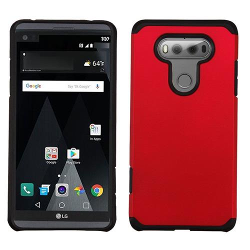Insten Hard Dual Layer Rubber Coated Silicone Case For LG V20, Red/Black