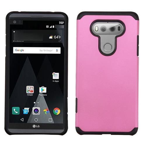 Insten Hard Hybrid Rubber Silicone Cover Case For LG V20, Pink/Black