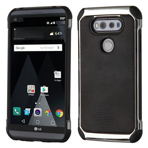 Insten Leather Hybrid Fabric TPU Case For LG V20, Black/Silver