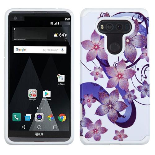 Insten European Flowers Hard Dual Layer Silicone Cover Case For LG V20, Purple/White