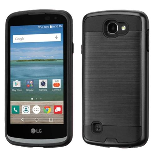 Insten Hard Dual Layer Silicone Cover Case For LG Optimus Zone 3/Spree, Black