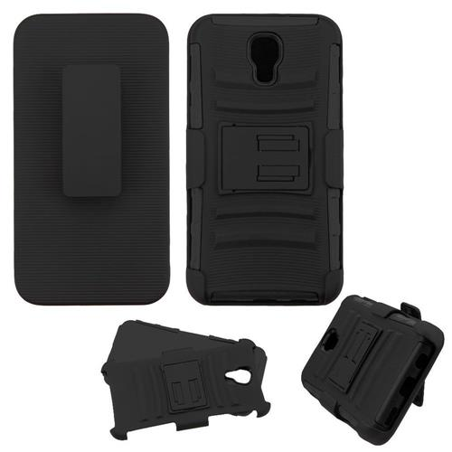 Insten Hard Hybrid Plastic Silicone Cover Case w/Holster For LG X Screen, Black