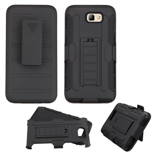 Insten Car Armor Hard Dual Layer Plastic Silicone Case w/Holster For Samsung Galaxy on5(2016), Black
