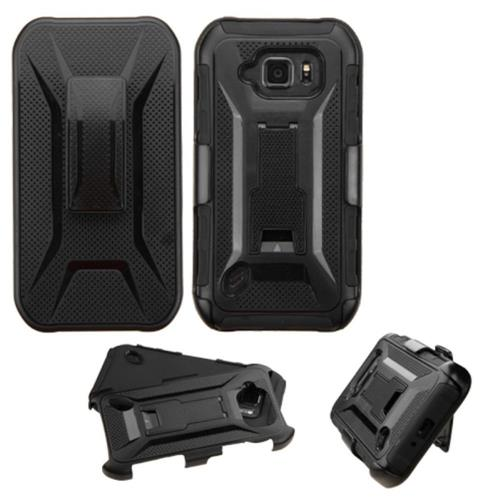 Insten Hard Hybrid Plastic Silicone Case w/Holster For Samsung Galaxy S6 Active, Black