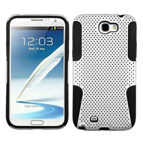 Insten Fitted Soft Shell Case for Samsung Galaxy Note II - White/Black