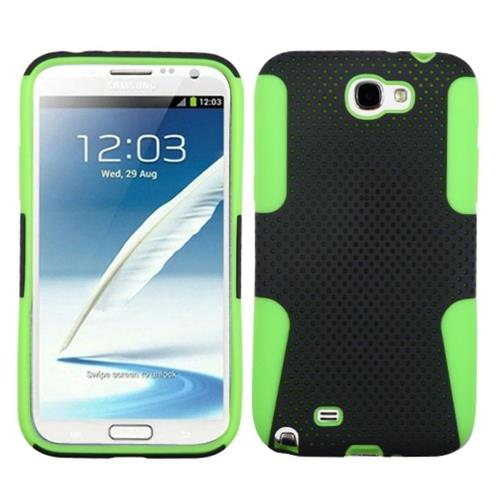 Insten Astronoot Mesh Hard Dual Layer Silicone Case For Samsung Galaxy Note II, Black/Green