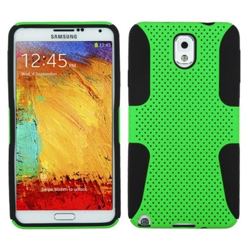 Insten Astronoot Mesh Hard Rubberized Silicone Case For Samsung Galaxy Note 3, Neon Green/Black