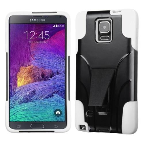 Insten Hard Dual Layer Plastic Silicone Case w/stand For Samsung Galaxy Note 4, Black/White