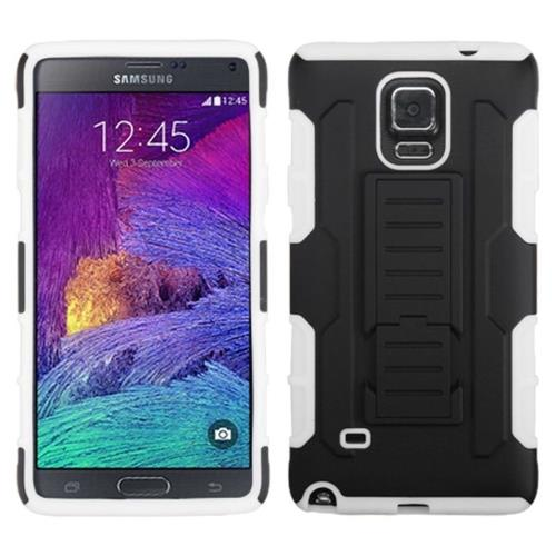 Insten Fitted Soft Shell Case for Samsung Galaxy Note 4 - Black/White