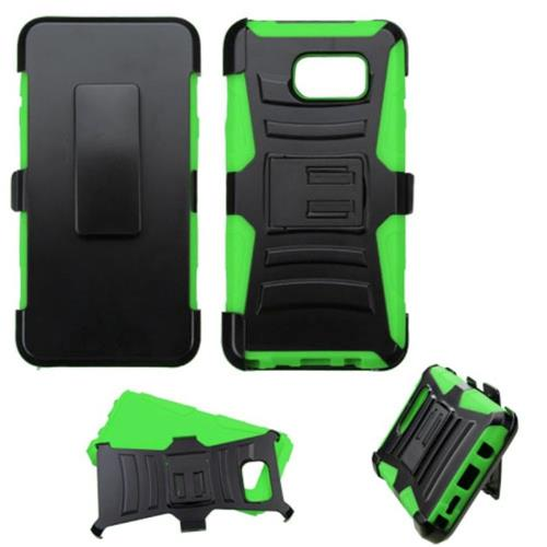 Insten Hard Dual Layer Plastic Silicone Case w/Holster For Samsung Galaxy Note 5, Black/Green