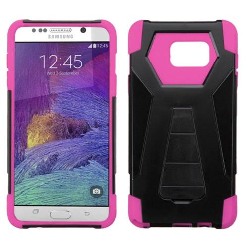Insten Hard Dual Layer Plastic Silicone Cover Case w/stand For Samsung Galaxy Note 5, Black/Hot Pink