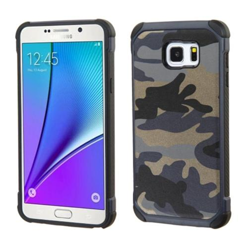 Insten Camouflage Hard Dual Layer Rubberized Silicone Case For Samsung Galaxy Note 5, Blue/Black