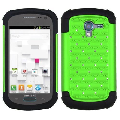 Insten Lattice Hybrid Rubber Silicone Case w/Diamond For Samsung Galaxy Exhibit, Neon Green/Black
