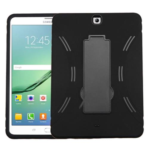 "Insten Symbiosis Skin Hybrid Rubber Hard Cover Case w/stand For Samsung Galaxy Tab S 9.7"", Black"