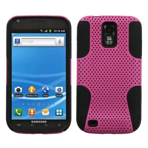 Insten Astronoot Mesh Hard Hybrid Silicone Case For Samsung Galaxy S2 Hercules, Hot Pink/Black