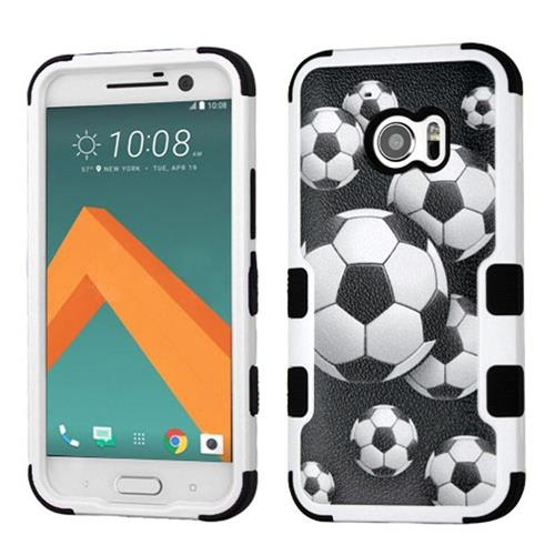 Insten Tuff Soccer Ball Collage Hard Hybrid Rubber Silicone Cover Case For HTC One M10, Black/White