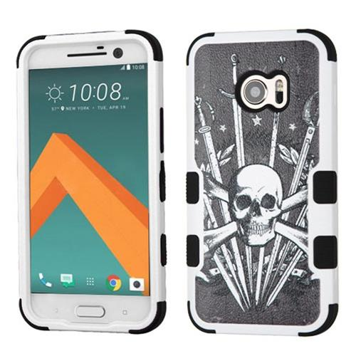 Insten Tuff Sword & Skull Hard Hybrid Rubber Coated Silicone Cover Case For HTC One M10, Black/White