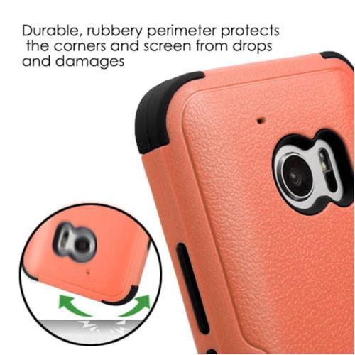 Insten Tuff Hard Hybrid Silicone Case For HTC One M10, Orange/Black