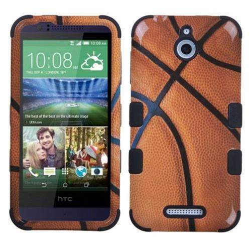 Insten Tuff Basketball Hard Dual Layer Rubber Silicone Case For HTC Desire 510, Brown/Black