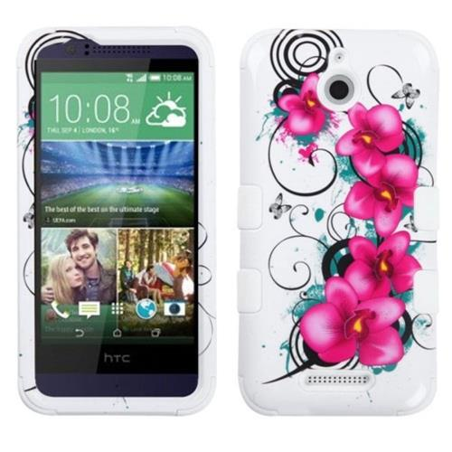 Insten Morning Petunias Hard Hybrid Silicone Cover Case For HTC Desire 510, White/Purple