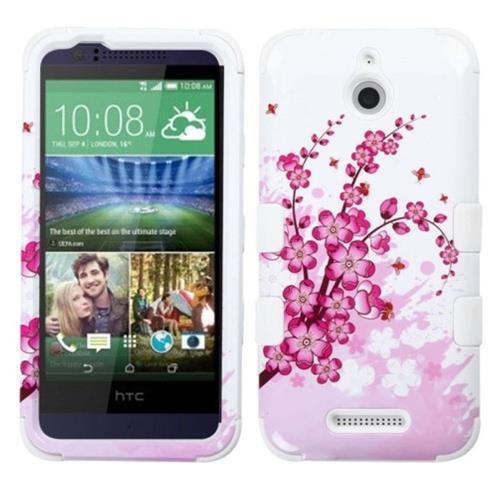 Insten Spring Flowers Hard Hybrid Rubber Coated Silicone Cover Case For HTC Desire 510, Pink/White
