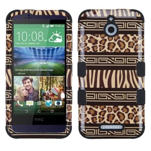 Insten Zebra Hard Dual Layer Rubberized Silicone Cover Case For HTC Desire 510, Brown/Black