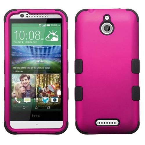 Insten Tuff Hard Hybrid Rubberized Silicone Case For HTC Desire 510, Hot Pink/Black