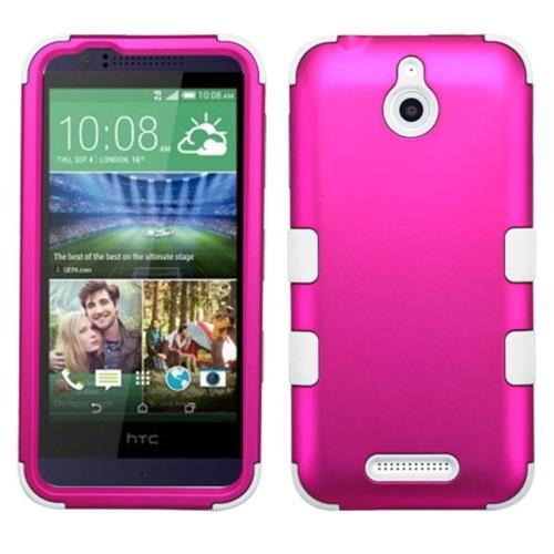 Insten Tuff Hard Dual Layer Silicone Case For HTC Desire 510, Hot Pink/White