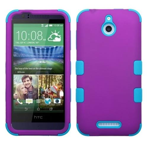 Insten Tuff Hard Dual Layer Rubberized Silicone Cover Case For HTC Desire 510, Purple/Blue