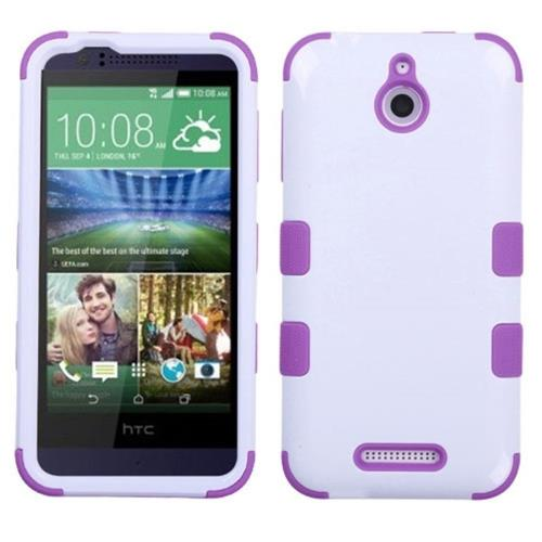 Insten Tuff Hard Dual Layer Silicone Cover Case For HTC Desire 510, White/Purple