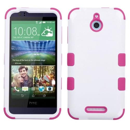 Insten Tuff Hard Dual Layer Rubber Coated Silicone Cover Case For HTC Desire 510, White/Hot Pink
