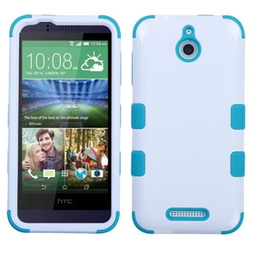 Insten Tuff Hard Dual Layer Rubber Coated Silicone Case For HTC Desire 510, White/Blue