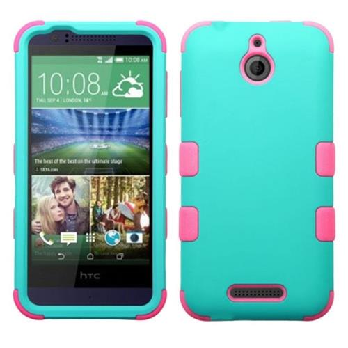 Insten Hard Hybrid Rubberized Silicone Cover Case For HTC Desire 510, Teal/Hot Pink