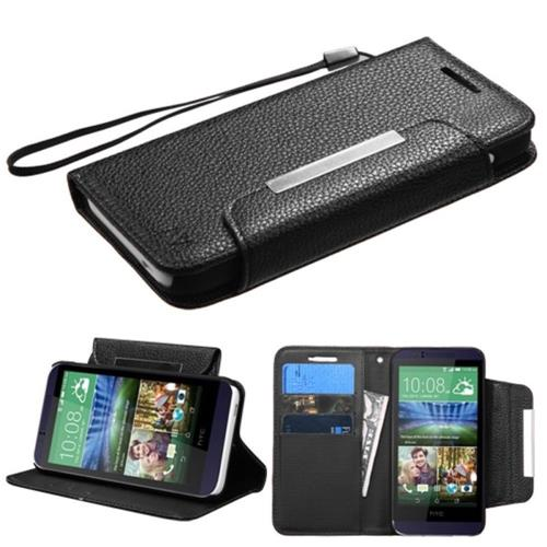 Insten Folio Leather Fabric Cover Case Lanyard w/stand/card holder For HTC Desire 510, Black