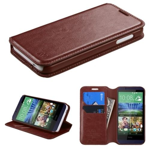 Insten Folio Leather Fabric Case w/stand/card slot For HTC Desire 510, Brown