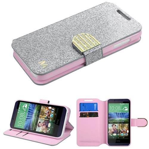 Insten Book-Style Leather Glitter Case w/stand/card slot/Diamond For HTC Desire 510, Silver/Gold