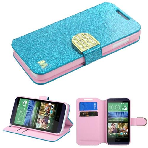 Insten Fitted Soft Shell Case for HTC Desire 510 - Blue/Gold