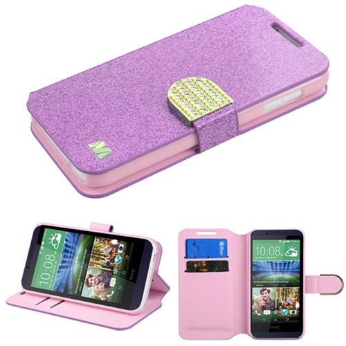Insten Folio Leather Glitter Cover Case w/stand/card holder/Diamond For HTC Desire 510, Purple/Gold